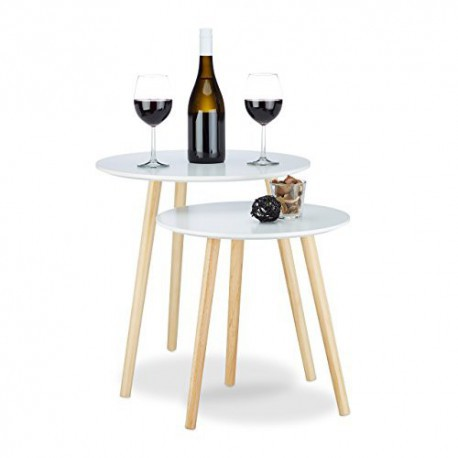 Relaxdays Table D Appoint Lot De 2 Gigognes Scandinave Nordique