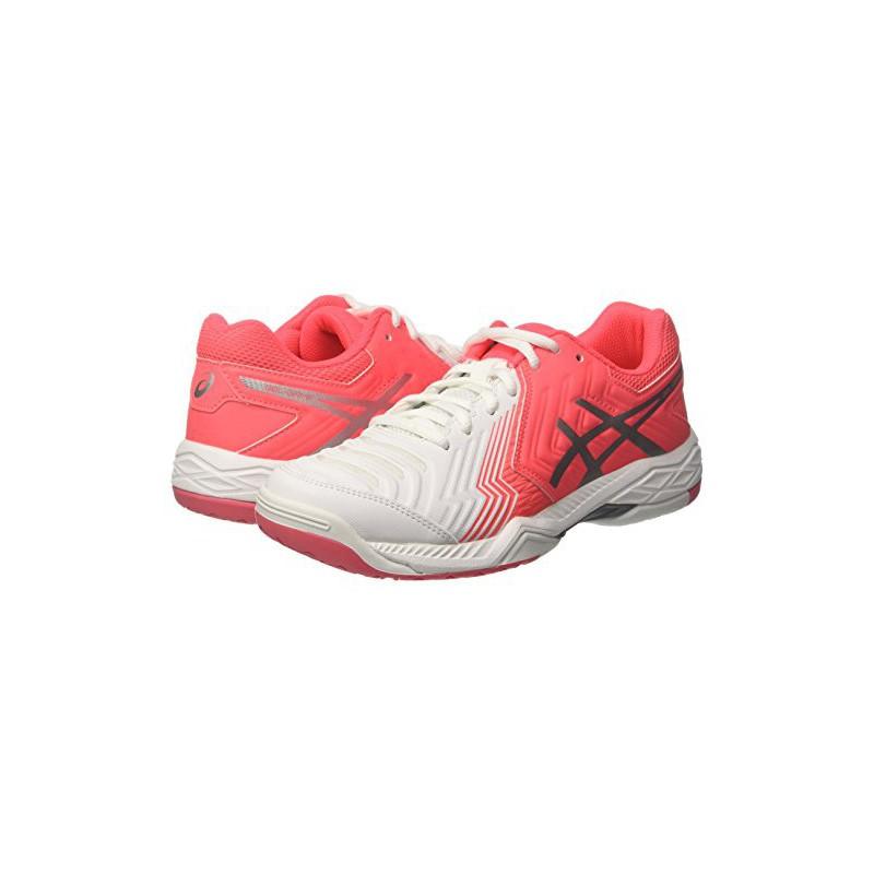 Asics Gel-Game 6, Chaussures de Course pour Entraînement sur Route Femme, Blanc Cassé (White/Diva Pink/Silver), 42 EU